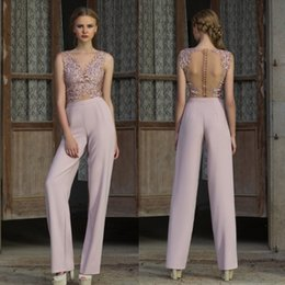 Wholesale Ladies Club Wear Fashion - Modern Ladies Pantsuits See Through Illusion Long Evening Gown 2018 New Design Party Cocktail Dresses Sheer Back Prom Dress Cheap
