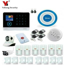 Wholesale Wireless Outdoor Camera System - Wholesale- YobangSecurity WiFi GSM GPRS RFID Wireless Security Alarm System Wireless Indoor Outdoor ip Camera Wireless Siren Smoke Detector