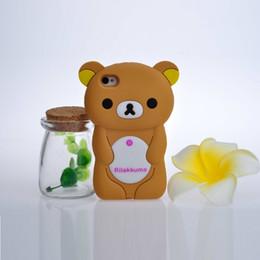 Wholesale Iphone Cases Rilakkuma - Cute Rilakkuma Bear fancy cell phone case 3D Cartoon Soft Silicone mobile phone cover for iphone4