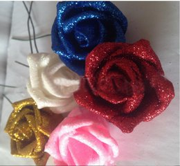 Wholesale Pe Rose Artificial Flowers - Silk Hydrangea Real Touch Flowers Wedding Decorations Rose Artificial Glitter Foam PE Artificial Flowers Rose Head Party DIY Kissing Ball