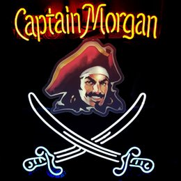 Wholesale Captain Morgan Neon - Fashion Handcraft CAPTAIN MORGAN Real Glass Beer Bar Display neon sign 19x15!!!Best Offer!