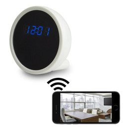 Wholesale Spy Mirror Clock Camera - 1920x1080P HD IP Camera Hidden Alarm Clock Mirror Spy DVR Mini WiFi Camera Nanny DV Home Security Surveillance Camcorders