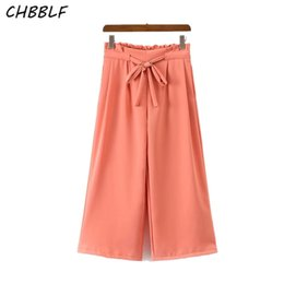 Wholesale Wide Leg Orange - New Spring Summer European Naked pink Bow Tie Pleated Waist wide Leg Pants Fashion Loose Elastic Waist Pants POP570
