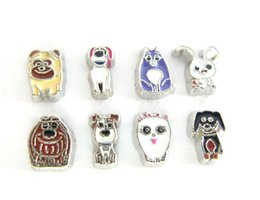 Wholesale Charms Mix Zinc - 10pcs cartoon mixed small animals pet zinc alloy DIY Floating Locket charms fit for living memory locket FC1501 as gift