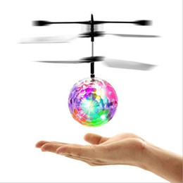 Wholesale Led Remote Helicopter - RC Helicopter Toys LED Flying Ball Quadcopter Drone Sensor Suspension Remote Control Aircraft Kids Gift With Retail Opp Bags