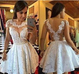 Wholesale Young Cap - 2017 Short White Lace Prom Dresses Mini Illusion See Through Cap Sleeve A-line Sexy Homecoming Party Gowns For Young Girls
