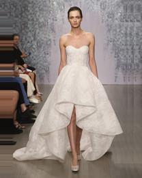 Wholesale Long Skirts Asymmetric - asymmetric high low wedding dresses 2017 Monique Lhuillier corset sweetheart neckline lace wedding gowns exquisite custom made bridal gowns