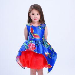Wholesale Peplum For Kids - 2017 Summer Bule Floral Dresses For Kids Crew Neck Sleeveless Children's Dress Wholesale Free Shipping 2017 New Arrival Belt Skirts