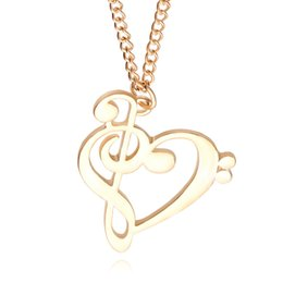 Wholesale Musical Tin - Minimalist Simple Fashion Hollow Heart Shaped Musical Note Pendant Necklace Music Jewelry Gold Silver Special Gift
