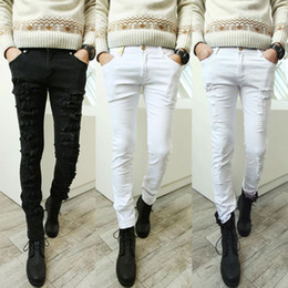 Wholesale Jean Capris For Men - Wholesale- Hot Sell White Ripped Jeans Men With Holes Super Skinny Famous Designer Brand Slim Fit Destroyed Torn Jean Pants For Male AY991