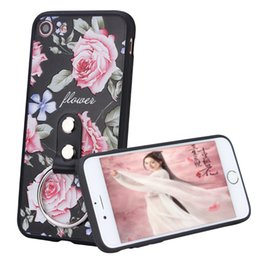 Wholesale Diamond Cellphone Cases - 3D Relief Touch Flower Luxury Diamond Ring Phone Case For iPhone 6s 7Plus 7, TPU+PC Ring Holder Cellphone Case For iPhone 6sPlus 6