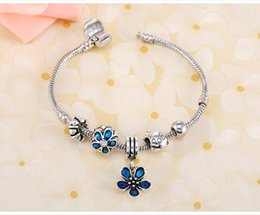 Wholesale Silver 925 Pendent - AAA Quality 925 Silver Bracelets Snake Chain European Beads Blue Flower Pendent Charm Bracelet Fit Pandora Bracelets for Christmas Gifts
