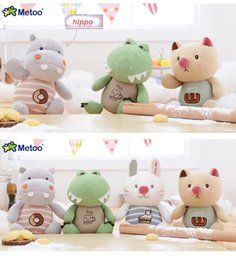 Wholesale Toy Hippo Gifts - Cartoon Soft Cushion Plush dinosaur Toys As Gift For Children Kawaii Animal hippo Rainbow Cute Toys Free Shipp