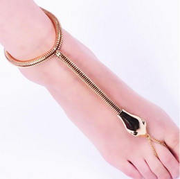Wholesale Stylish Women Sandals - Gothic Women Anklets Stylish Gold Tone Snake Barefoot Sandals Foot Chain Ankle Bracelets Womens Jewelry