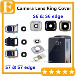 Wholesale Camera Diffuser - Rear Back Camera Frame Cover With Glass Lens Flash Diffuser For Samsung Galaxy S7 S6 Edge Plus G930 G935 G920 G925 G928 30PCS