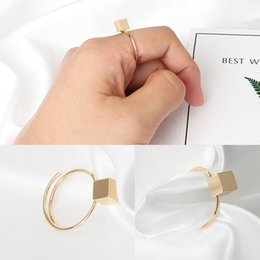 Wholesale People Gold Jewelry - Europe and the United States simple geometric box adjustable opening ring finger ring finger ring influx of people jewelry wholesale