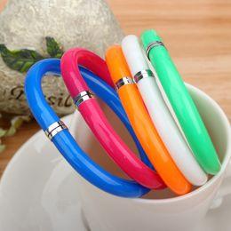 Wholesale Pen Bangles - Flexible Ball Pen Cute Soft Plastic Bangle Bracelet Ballpoint Pens School Office Gifts Kawaii lovely creative Stationery