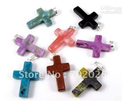 Wholesale Natural Gemstone Crosses - Wholesale 48pcs Cross natural stone gemstone pendants