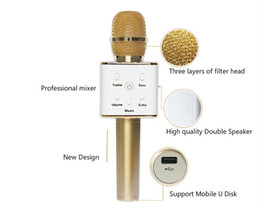 Wholesale Microphone Conference Meeting - Microphone Q7 Stereo Wireless Bluetooth Karaoke Player Speaker for Iphone Andorid Smart Phone Home KTV Karaoke Party Meeting Guider