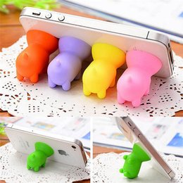 Wholesale Pig Cups - Lovely Pig Phone Holder stand Silicone Suction Cup Cute Cartoon Mini Universal Mount Bracket Cell Phone Holder Kickstand Stick