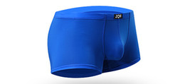 Wholesale Gold Boxer Briefs - 2017 new 8 Colors Mens Underwear sexy men Ice silk Stretch boxer briefs Slim Solid color Underpants High quality can choose the color size