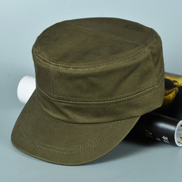 Wholesale Diseñador de algodón en blanco ejército gorra llana ajustable de algodón sombreros para adultos para hombre mujer cráneo visera parasol negro azul marino Beigh ejército verde colores venta