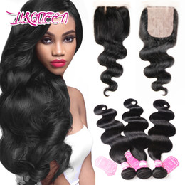 Wholesale Bundle Hair Silk Straight - Silk Base Closure With 3 Pcs Hair Bundles Straight Body Wave Free Part Brazilian Human Hair Unprocessed Beauty Virgin Human Hair