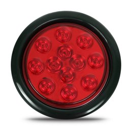 """Wholesale 12v Incandescent - 1pcs Trailer Truck 4"""" Round Incandescent Stop Turn Tail Light 12 Red Diodes 12V Replacement"""
