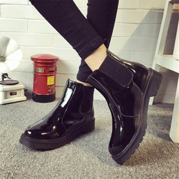Wholesale Girls Red Leather School Shoes - Wholesale-Brand Plus Size 40 Women Ankle Boots Flat Heels Casual Shoes Woman Patent Leather Boots School Style For Girls Black Motorcycle