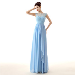 Wholesale Cheap Elegant Long Sleeve Tops - Jewel Neck Blue cheap bridesmaid dresses Cap Sleeves Top part Lace Chiffon country bridesmaid dress Draped Elegant Evening Gowns With Bow