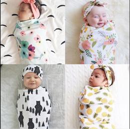 Wholesale Sleeveless Baby Sleeping Bags - Infant Baby Boys Girls Muslin Blanket +Headband 2Pcs Outfits Newborn Baby Soft Cotton Cocoon Sleep Sack Two Piece Set Sleeping Bags