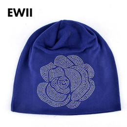 Wholesale acrylic balaclava - Wholesale- Spring and Autumn ladies beanie knitted hat women flower rhinestones hats for women's skullies caps girl cap gorros balaclava