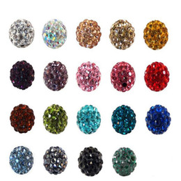 Wholesale Multi Color Bead Bracelet - 8mm Mixed Multi Color Ball Crystal Shamballa Bead Bracelet Necklace Beads Hot New Beads Lot Rhinestone DIY Spacer 50Pcs  lot
