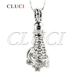 Wholesale Lighthouse Gifts Wholesale - silver plated Lighthouse shape cage pendant 37*14*13mm Pack of 5