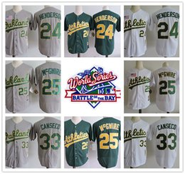 Wholesale Green Road - Mens 1989 World Series Oakland Athletics #24 Rickey Henderson 25 Mark Mcgwire 33 Jose Canseco vintage white green gray road stitched Jersey