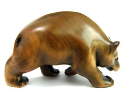 Wholesale Wood Walking - 2-inch Hand Carved Boxwood Netsuke Dark Tone Animated Walking Bear Nice Pendant Collectible Gift for Home