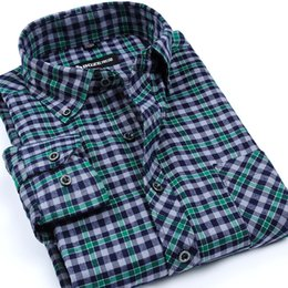 Wholesale Business Casual Clothes For Men - Wholesale- New Arrival Men's Fashion Clothing High Quality Long Sleeve Non-Iron Brushed Flannel Plaid Shirts Business Casual Shirt For Men