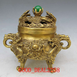 Wholesale chinese incense burner dragon - Collection Folk Art Chinese Vintage Handwork Brass Carved Dragon Incense Burners w XuanDe Mark