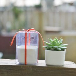 Wholesale Mini Pottery - Simple White Ceramic Mini Desktop Square Meat Porcelain Pottery Flower Pot Planter Garden Bonsai With PVC Gift Box ZA5025
