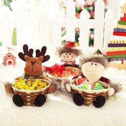 Wholesale Straw Animals Designs - Nice Design Christmas Storage Basket Decoration Santa Claus Snowman Elk Basket for Candy,Fruit,Cookie,Chocolate,etc Display Bag
