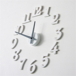 Wholesale Wall Clock Diy Numbers - Wholesale-DIY Self Adhesive Decal Digit Number Room Interior Large Wall Clock reloj de pared White quality first