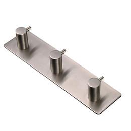 Wholesale Railings Steel - 3M Self Adhesive Hook 304 Stainless Steel Key Rack 3-Hook Rail Garage Storage Organizer Wall Mount Hangers