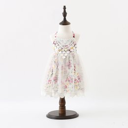 Wholesale childrens clothing for girls - Baby Girls Lace Tutu New Summer Kids Floral Dresses Childrens Sleeveless Lace Dress for Kids Clothing Party Dress for 1~7 Y