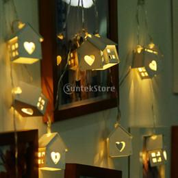 Fil pour maison en Ligne-Wood House Shape 10Led Bulbs Wire String Lingts avec batterie Box Christmas Lights For Holiday Décoration de fête de mariage