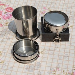 Wholesale Portable Stainless Steel - Stainless Steel Portable Outdoor Travel Camping Folding Foldable Collapsible Cup 75ml