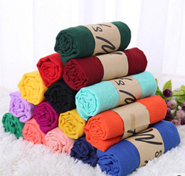 Wholesale Pashmina Shawls Plain Color - Women Solid Color Scarf Winter Candy Color Scarf 65*180cm Shawls And Scarves Linen Cotton Scarf Warm Beach Pashmina 37 colors