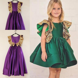 Wholesale First Knot - Real Images Flower Girls Dresses With Bow Knot Sequins Backless Satin Knee Length Girls Pageant Dress Cap Sleeves First Communion Dress