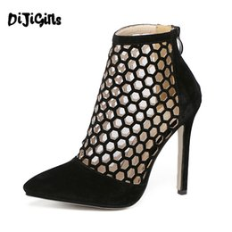 Wholesale Sexy Black Booties Shoes - Wholesale-2016 New Fashion Pointed Toe Ankle Back Zipper High Heels Booties Women Shoes Suede Sexy Pumps Zapatos Mujer Black Beige YD247