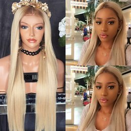 Wholesale platinum long wigs - ombre #8 613 Full Lace Human Hair Wigs Silky Straight Platinum Blonde Lace Front Wigs free shipping