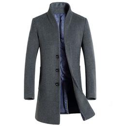 Wholesale mens hooded pea coats - Wholesale- Long Wool Coat Men 2016 New Arrival Mens Cashmere Coat Brand Wool Blends Pea Coat Jacket Men Slim Fit Manteau Homme Overcoat